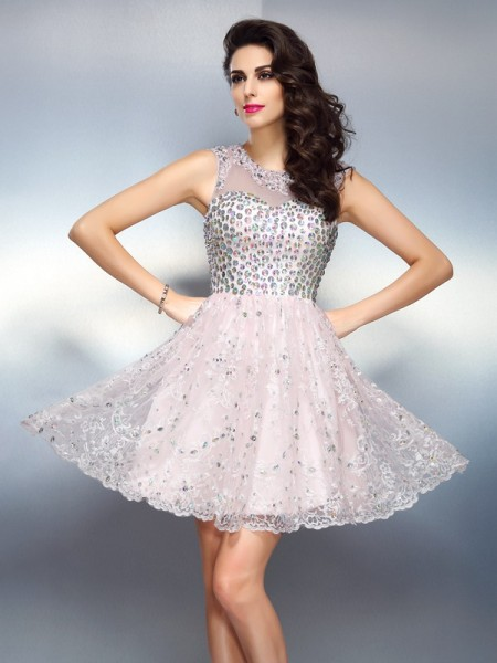 A-Line/Princess Bateau Beading Sleeveless Short Satin Cocktail Dresses