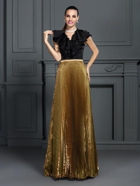 A-Line/Princess V-neck Pleats Sleeveless Long Tulle Dresses