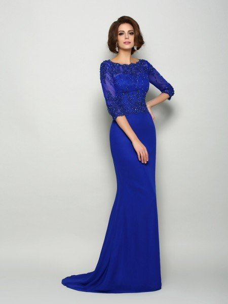 Trumpet/Mermaid Scoop Beading 3/4 Sleeves Long Chiffon Mother of the Bride Dresses