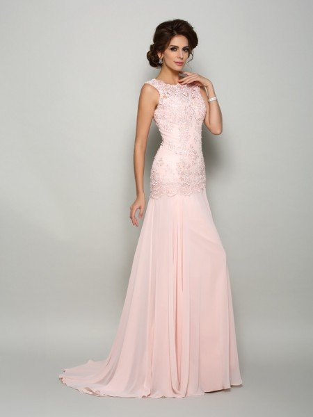 b6637a366b3 Trumpet Mermaid Scoop Beading Sleeveless Long Chiffon Mother of the Bride  Dresses