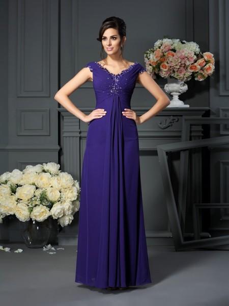 A-Line/Princess V-neck Beading Sleeveless Long Chiffon Mother of the Bride Dresses