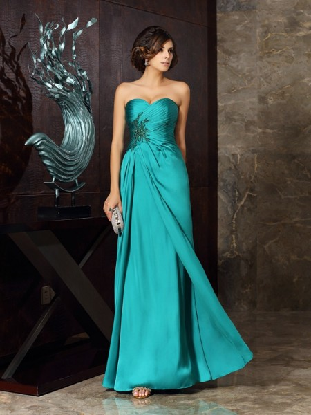 Sheath/Column Sweetheart Beading Sleeveless Applique Long Chiffon Mother of the Bride Dresses