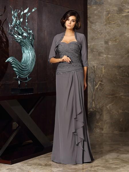 Sheath/Column Sweetheart Beading Applique Sleeveless Long Chiffon Mother of the Bride Dresses