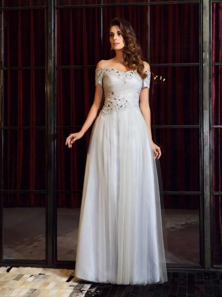 A-Line/Princess Off-the-Shoulder Beading Sleeveless Long Net Dresses