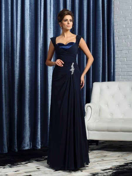 A-Line/Princess Straps Beading Sleeveless Long Chiffon Mother of the Bride Dresses