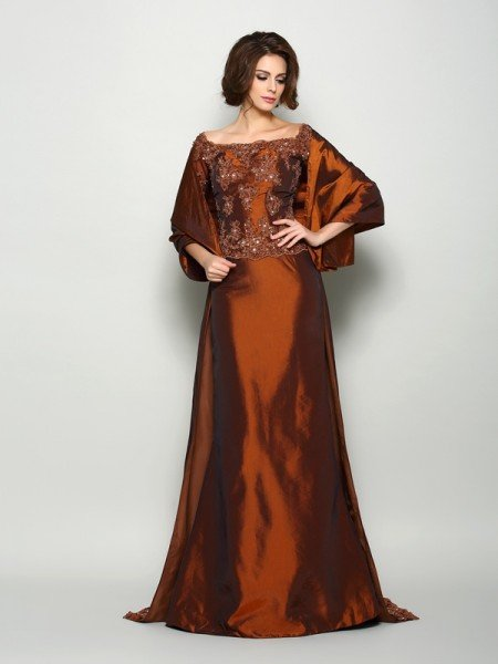 A-Line/Princess Off-the-Shoulder Beading 1/2 Sleeves Long Taffeta Mother of the Bride Dresses