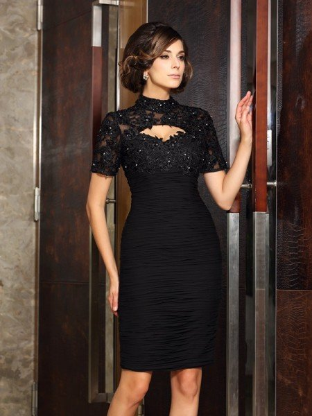 Sheath/Column High Neck Beading Short Sleeves Short Chiffon Mother of the Bride Dresses