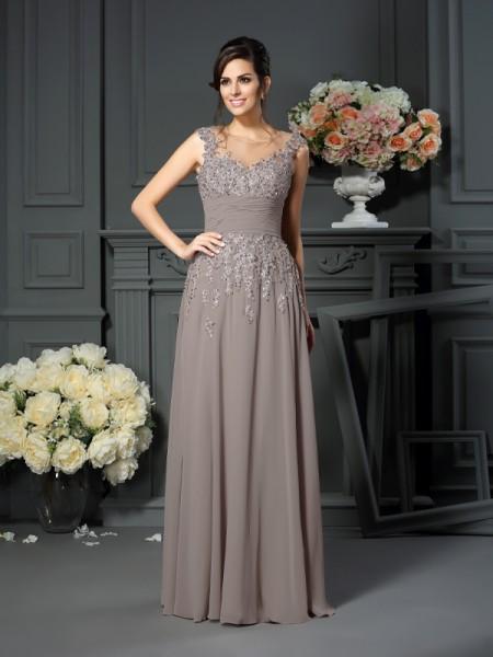 A-Line/Princess Scoop Beading Sleeveless Long Silk like Satin Mother of the Bride Dresses