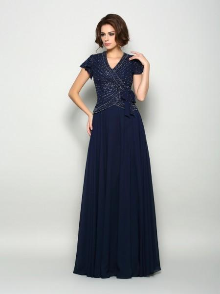 A-Line/Princess V-neck Beading Short Sleeves Long Chiffon Mother of the Bride Dresses