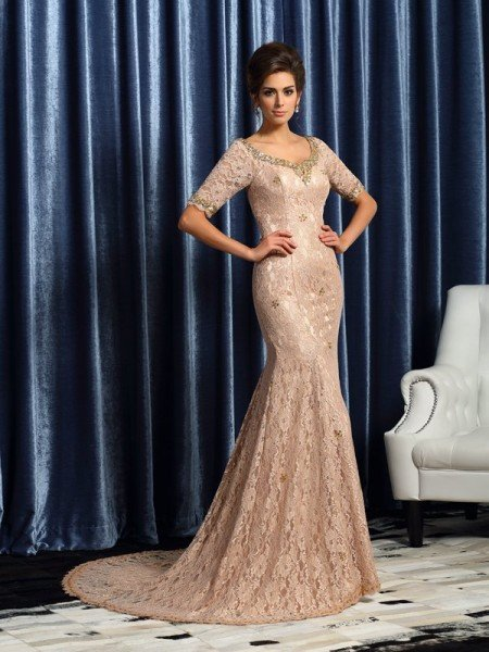 Trumpet/Mermaid V-neck Lace 1/2 Sleeves Long Elastic Woven Satin Mother of the Bride Dresses