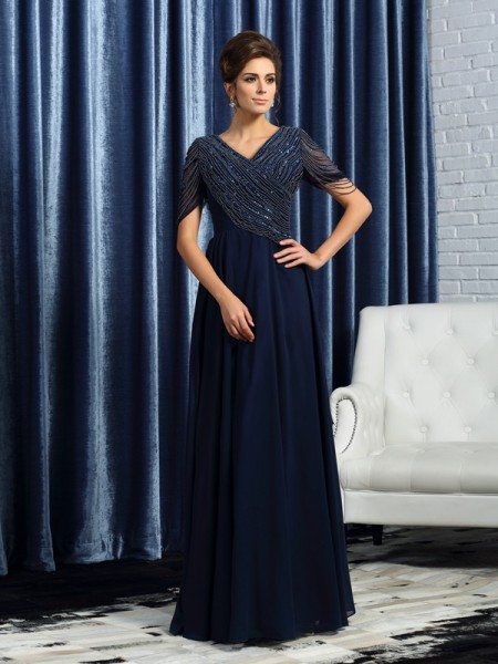 A-Line/Princess V-neck Short Sleeves Long Chiffon Mother of the Bride Dresses