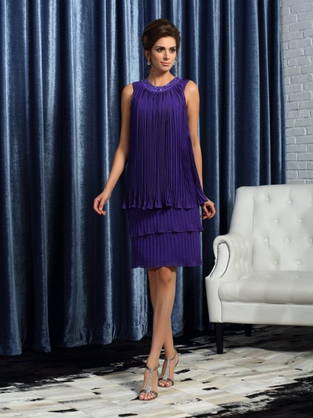 A-Line/Princess Jewel Pleats Sleeveless Short Chiffon Mother of the Bride Dresses