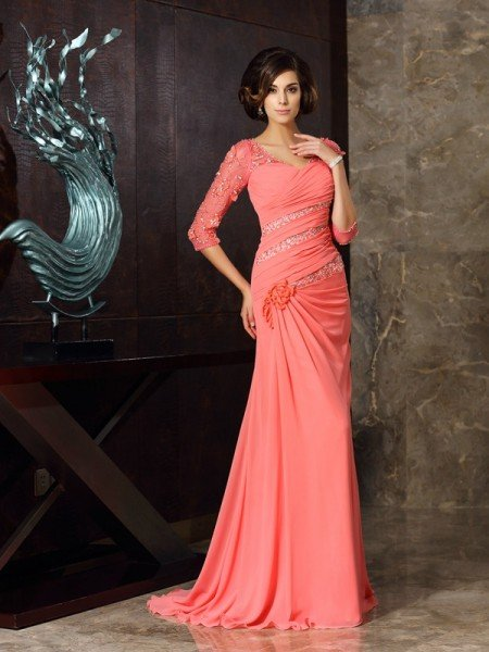 f220608fa92f Trumpet/Mermaid Sweetheart 1/2 Sleeves Long Chiffon Mother of the Bride  Dresses