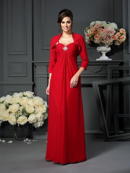 A-Line/Princess Spaghetti Straps Beading Sleeveless Long Chiffon Mother of the Bride Dresses