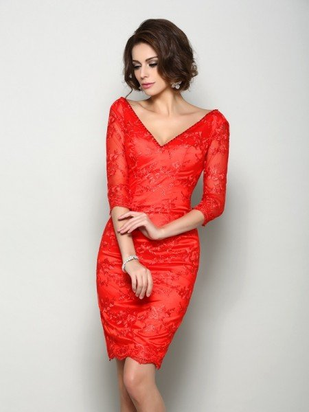Sheath/Column V-neck Lace 1/2 Sleeves Short Lace Mother of the Bride Dresses