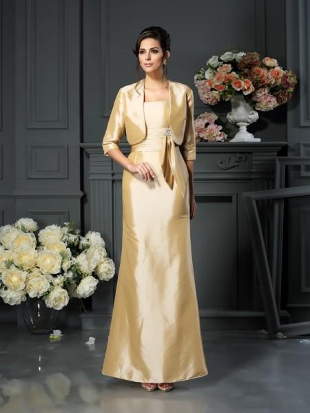 Sheath/Column Straps Bowknot Sleeveless Long Taffeta Mother of the Bride Dresses