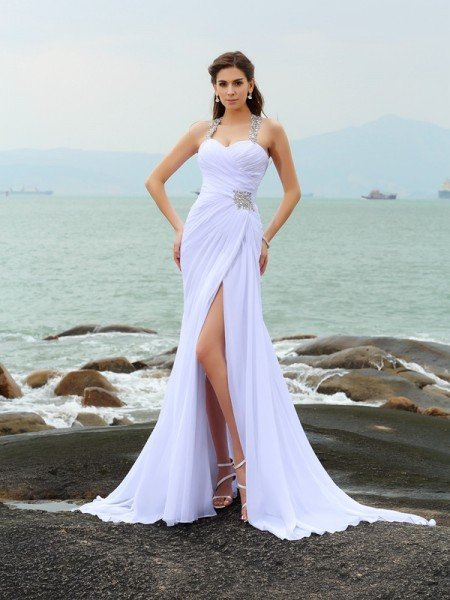 Sheath/Column Straps Beading Sleeveless Long Chiffon Beach Wedding Dresses