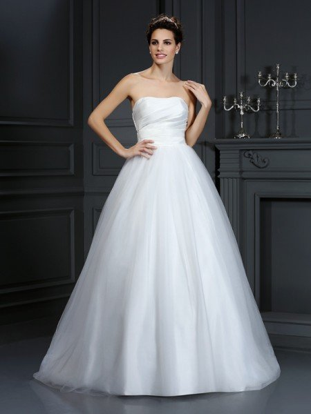 Ball Gown Strapless Pleats Sleeveless Long Taffeta Wedding Dresses