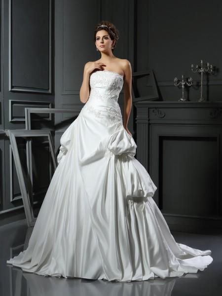 Ball Gown Strapless Applique Sleeveless Long Satin Wedding Dresses
