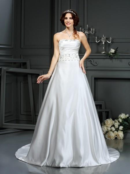 A-Line/Princess Strapless Beading Sleeveless Long Satin Wedding Dresses