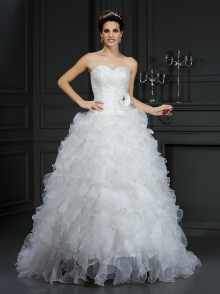 Ball Gown Sweetheart Hand-Made Flower Sleeveless Long Organza Wedding Dresses