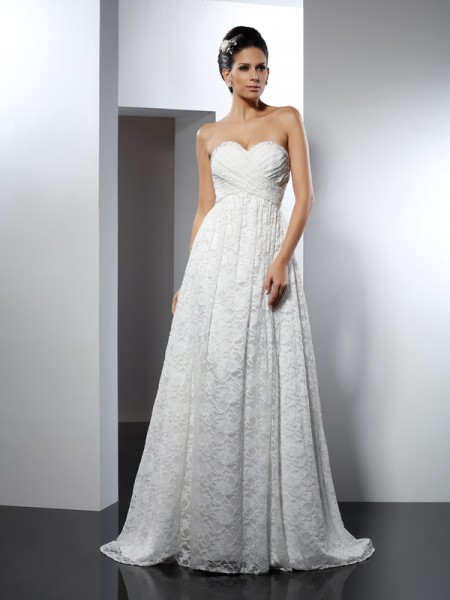 A-Line/Princess Sweetheart Sleeveless Long Satin Wedding Dresses