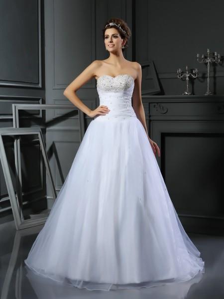 Ball Gown Sweetheart Beading Sleeveless Long Satin Wedding Dresses