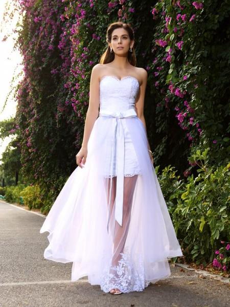 Trumpet/Mermaid Sweetheart Applique Sleeveless Long Tulle Wedding Dresses