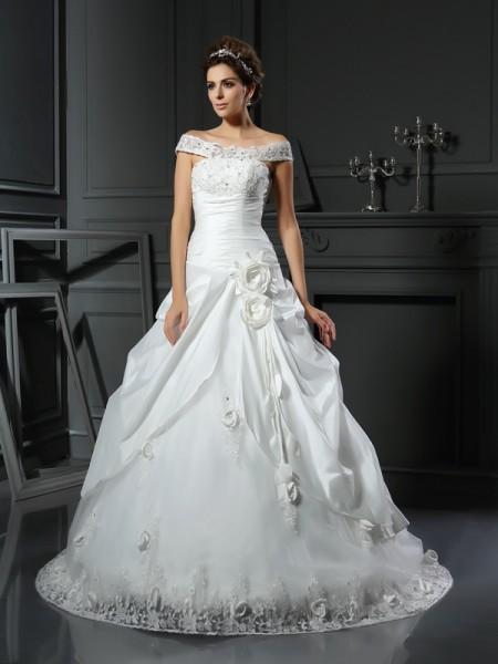 Ball Gown Off-the-Shoulder Hand-Made Flower Sleeveless Long Satin Wedding Dresses