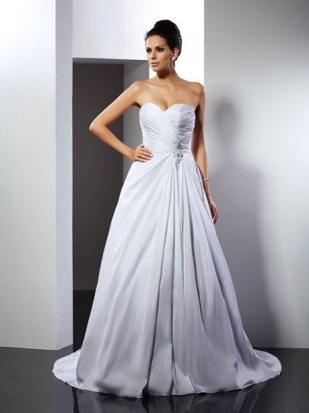 A-Line/Princess Sweetheart Ruffles Sleeveless Long Satin Wedding Dresses