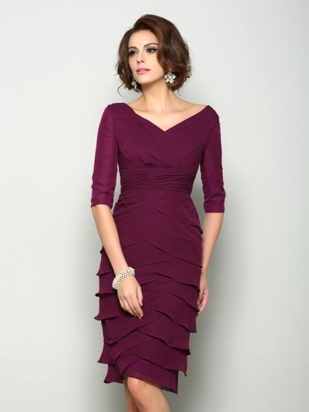 Sheath/Column V-neck 1/2 Sleeves Short Chiffon Mother of the Bride Dresses