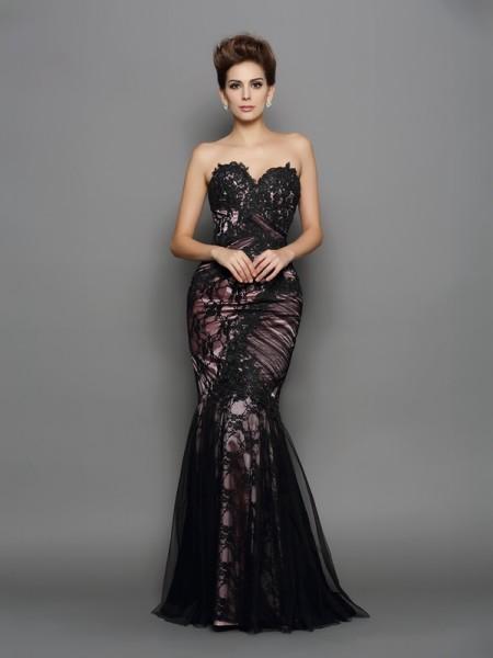 Trumpet/Mermaid Sweetheart Applique Sleeveless Long Elastic Woven Satin Dresses
