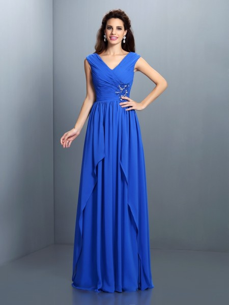 A-Line/Princess V-neck Beading Pleats Sleeveless Long Chiffon Dresses
