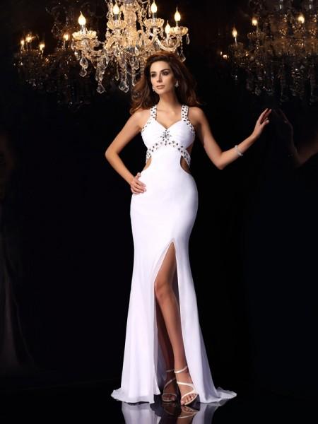 Trumpet/Mermaid Straps Ruffles Sleeveless Long Chiffon Dresses