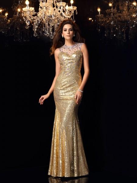 Trumpet/Mermaid High Neck Sleeveless Long Sequins Dresses