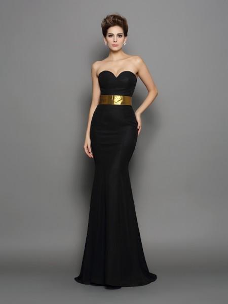 Trumpet/Mermaid Sweetheart Sash/Ribbon/Belt Sleeveless Long Chiffon Dresses