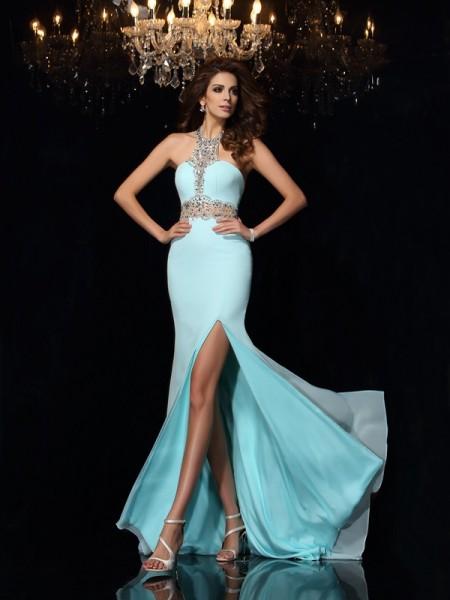 Sheath/Column High Neck Beading Sleeveless Long Chiffon Dresses