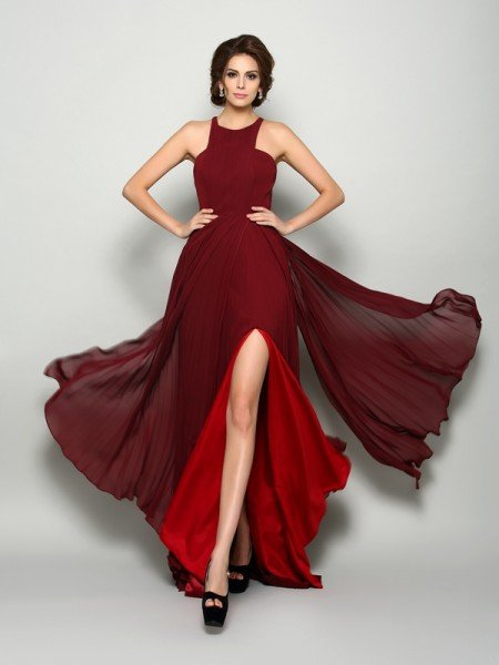 A-Line/Princess High Neck Ruched Sleeveless Long Chiffon Mother of the Bride Dresses