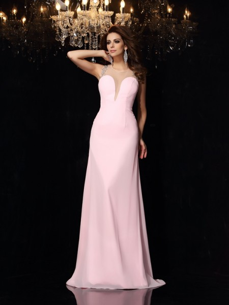 Trumpet/Mermaid Scoop Beading Sleeveless Long Chiffon Dresses