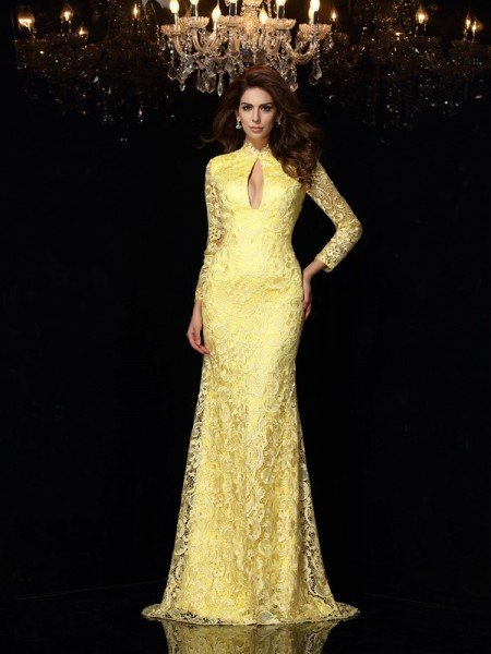 Sheath/Column High Neck Lace Long Sleeves Long Satin Dresses