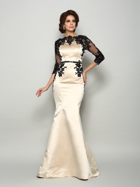 Trumpet/Mermaid Bateau Lace 1/2 Sleeves Long Satin Mother of the Bride Dresses
