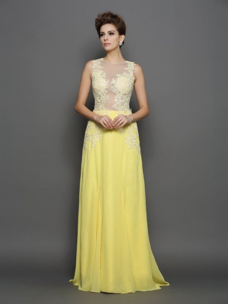 A-Line/Princess Scoop Lace Sleeveless Long Chiffon Dresses