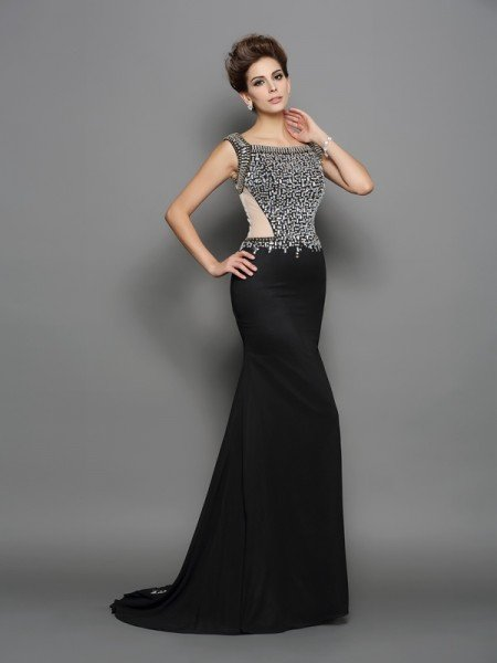 Trumpet/Mermaid Square Beading Sleeveless Long Chiffon Dresses