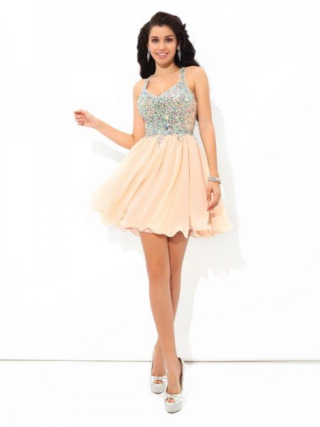 A-Line/Princess Straps Rhinestone Sleeveless Short Chiffon Cocktail Dresses