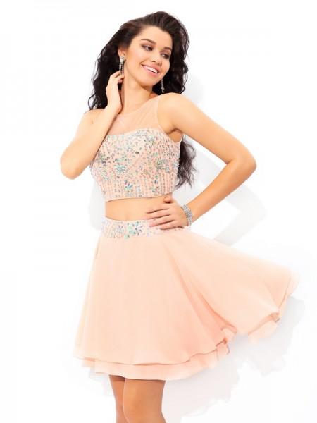 A-Line/Princess Sheer Neck Beading Sleeveless Short Chiffon Two Piece Dresses