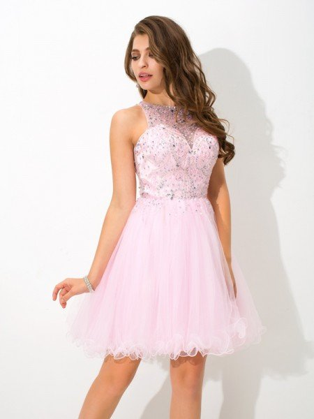 A-Line/Princess Sheer Neck Beading Sleeveless Short Net Cocktail Dresses