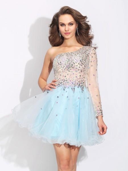 A-Line/Princess One-Shoulder Beading Long Sleeves Short Elastic Woven Satin Dresses