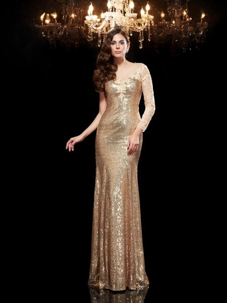 Trumpet/Mermaid Scoop Lace 3/4 Sleeves Long Sequins Dresses