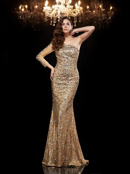 Trumpet/Mermaid One-Shoulder Beading 3/4 Sleeves Long Sequins Dresses