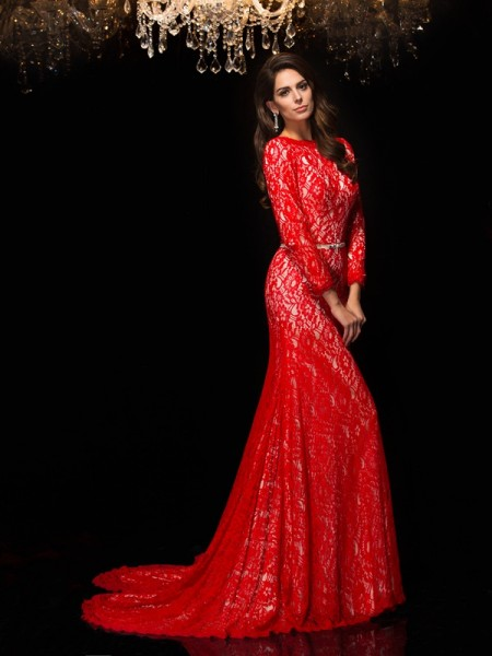 Sheath/Column Bateau Lace 3/4 Sleeves Long Lace Dresses